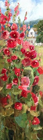 Hollyhock Hill House by Janette Jones Oil ~ 12 x 36