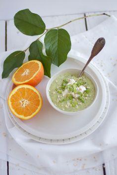 Velouté de courgettes, orange, cardamome et ricotta aux zestes d'orange