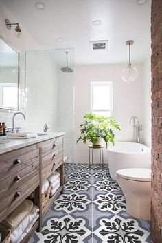 10 beyond stylish bathrooms with patterned encaustic tile rh pinterest com