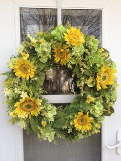 Yellow Sunflower & Bright Green Hydrangea   Wreath by julielaplant