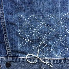 Lots of hand stitching today while my sewing machine is in for repairs. Building out the linked seven treasures sashiko pattern on this great denim jacket. #dspattern
