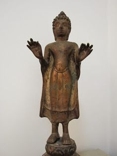 This style of Buddha Sculpture are made in Mon-Dvaravati Period Centuries). The style of the Dvaravati Buddha is mixed from many peri. Standing Buddha Statue, Buddha Sculpture, Buddha Statues, Art Thai, Tibetan Art, 11th Century, Buddhist Art, Buddhism, Sculptures