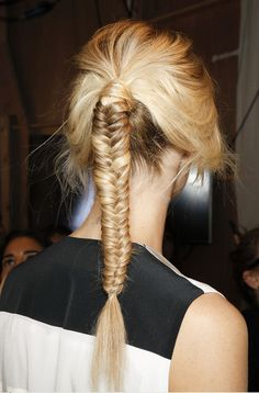Hair    Hairstyle Ideas.  Great use of hair to cover up the pony elastic and like the fact that the fishbone braid starts higher up then most.