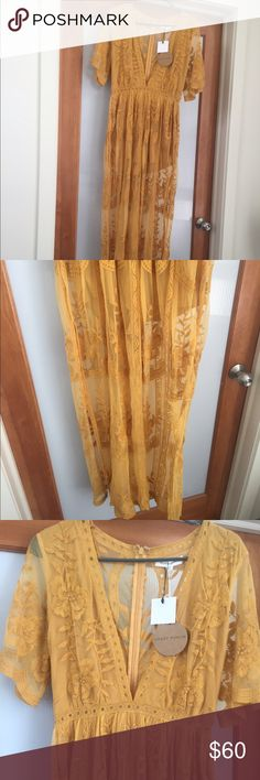 yellow lace maxi dress Size medium lace maxi dress, brand new with tags, never worn. Sheer with attached romper underneath. mustard yellow. Vneck in front. True to size. Loved it just found a color I felt looked better on me and it was too late to return it! Honey Punch Dresses Maxi