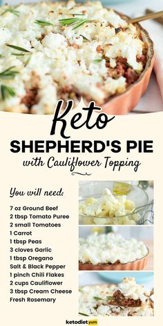 Keto Shepherd's Pie with Cauliflower Topping - Flavor infused ground beef meat sauce with veggies and a healthy cauliflower cream cheese topping. Keto Shepherd's Pie, Healthy Dinner Recipes, Keto Recipes, Free Keto Meal Plan, Low Carb Meats, Small Tomatoes, Cottage Pie, Cauliflower Recipes, Cauliflower Rice