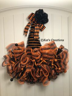Halloween Witch Door Decorating Ideas In Halloween Witch Hat Wreath Trick Or Treat Front Door Decor Orange And Black Seasonal Holiday By Kats Creations 777 Buffalo Check Christmas Winter Wreath Plaid Decor Rustic