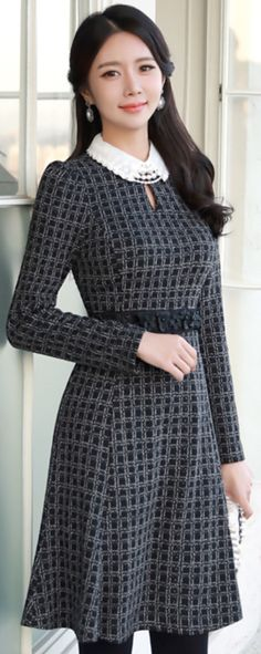 StyleOnme_Black Floral Belted Check Print Collared Dress #elegant #check #floral #collared #dress #koreanfashion #kstyle #kfashion #dailylook #seoul
