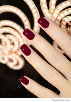 Simple burgundy gel nails. Are you looking for nail colors design for winter? See our collection full of cute winter nail colors design ideas and get inspired!