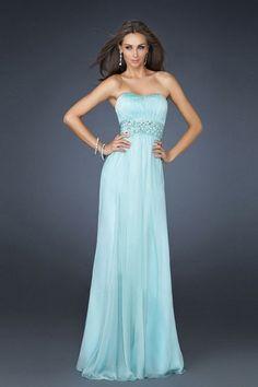 Marvelous A-Line Strapless Light Sky Blue Long Cheap Prom Dresses UK