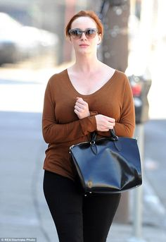 Christina Hendricks steps out in casual wear on outing together, August 2013.