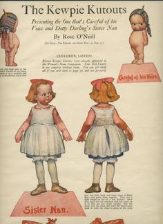 1913 Kewpies & Sister Nan Paper Dolls & Story by Rose O'Neill from azpaperlady on Ruby Lane