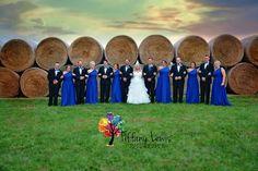 cobalt blue wedding, hay bales, wedding party, photography