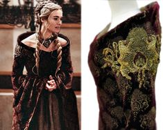 "Costume designer Michele Clapton, posing with one of her designs for Cersei, is responsible for the lavish wardrobes on HBO's ""Game…"