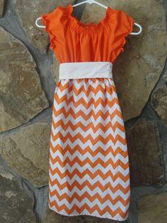 Ladies Orange and White Chevron Peasant by JustSewStinkinCute, $65.00