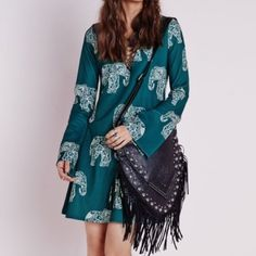 NWT Missguided Elephant Dress Enjoy the lace up dress trend with the adorable paisley elephant print! Size four. Can be easily dressed up or down~ Ships out on the purchased day! Missguided Dresses