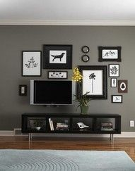 gallery wall around tv - saw this on Nate Berkus show.. pretty cool!