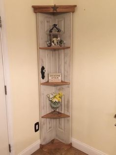 A personal favorite from my Etsy shop https://www.etsy.com/listing/276217678/custom-old-door-corner-accent-shelf