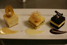 """Trio of Cakes: Banana Dulce de Leche, Coconut """"Tres Leches,"""" and Mexican Chocolate & Passion Fruit. This dessert course was presented at the """"La Mesa: Latin American Table"""" charity dining event hosted by CIA bachelor's degree students."""