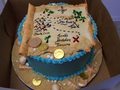 Pirate Treasure Map For a friend's son's birthday. Fondant map and pearls, white chocolate seashells, and chocolate gold coins. Treasure Map Cake, Pirate Treasure Maps, Treasure Island, Pirate Birthday Invitations, Birthday Cake, Island Cake, Cakes For Boys, Occasion Cakes, Fancy Cakes