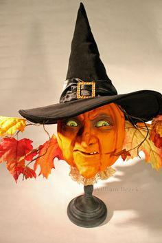 life sized pumpkin head witch from artist William Bezek