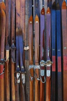 Vintage skis- a long shot and not a cheap solution, but this exhibit of vintage skis and equipment is available to lease as a package. Other vintage ski gear can also be leased, May be rent a couple pieces and borrow others from friends and family to carry the look through. #skiingequipment