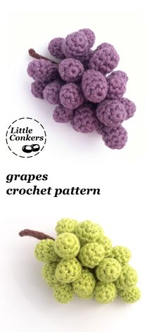 No crocheted fruit bowl would be complete without a bunch of grapes! Also makes fun bunting of Christmas decorations, bowl Crochet Grapes Pattern / Bunch of Grapes / Crochet Fruit Pattern / Crochet Food Pattern Fruits En Crochet, Crochet Food, Crochet Kitchen, Crochet Crafts, Crochet Projects, Crochet Baby, Knit Crochet, Food Patterns, Crochet Toys Patterns