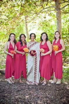 Bridesmaid dress inspiration for a red and orange wedding #orange #wedding #red