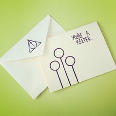 You're A Keeper Harry Potter Quidditch Inspired Handmade Greeting Card - $3.50