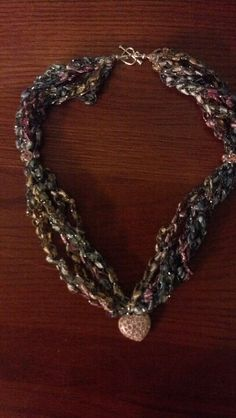 ladder yarn necklace trellis yarn necklace ribbon by coastalkat