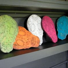 Skull Day of the Dead Wooden Sign- Maybe I can make these by next year to sale