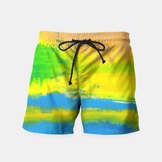 A SUNNY DAY - Yellow Blue Nautical Abstract Art Swim Shorts Mens Swim Shorts, Summer Shorts, Boxer Pants, Brand Store, Man Swimming, Sport Shorts, Sunny Days, Sunnies, Nautical