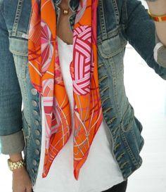 Hermes scarf .....but I love the blue jean jacket