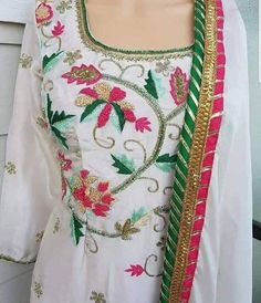 Hand Embroidery Dress, Embroidery Suits, Punjabi Dress, Punjabi Suits, Indian Suits, Indian Wear, Phulkari Suit, Suits For Women, Clothes For Women
