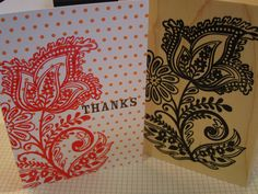 Strawberry Fresh ink on tangerine dotted note cards. We embossed the design with clear embossing powder.