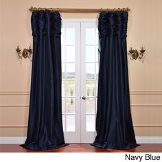 Exclusive Fabrics Ruched Header Color Taffeta 96-inch Curtain Panel