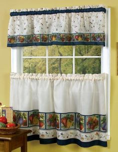 Veggies Curtains as Tier Pair & Valance Set is delectable array of vibrant vegetables adorn this winning Tier & Valance.  #Complete  #Kitchen #Sets