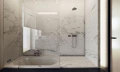 Shower and sunken bath