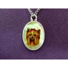 Hand painted cameo yorkie dog pendant mother of pearl shell sterling