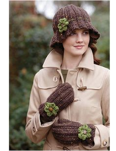 Crochet Flared Hat & Mittens with Flower by Mary Jane Hall - Ravelry