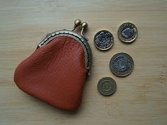 Leather purse-Coin purses-clasp purse-antique tone frame