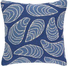 KN Mussel Blue Hook Pillow: Beach House Decor, Coastal Decor, Nautical Decor, Coastal Living Boutique, Tropical Decor