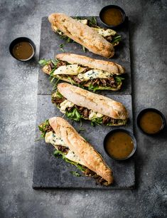 Short Rib Sandwich Recipe Packed with meltingly tender short ribs and creamy blue cheese this epic crispy baguette sandwich takes lunch to a whole new level. This makes four quite hefty sandwiches so you could split one and share with fries if you like or, if you are having a party, cut into smaller bite-sized sections