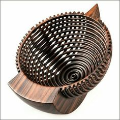 Artist: Hans Weissflog Title: Triangle Rocking Bowl Date: 2008 Materials: Ziricote Dimensions: 4 x 5 x 6 inches Wood Turning Lathe, Wood Turning Projects, Wood Lathe, Wood Projects, Wooden Art, Wooden Bowls, Easy Woodworking Projects, Art Furniture, Wood Sculpture