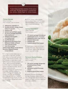 Chicken marsala recipe.  Includes recipes for sides as well: lemony green beans and parmesan mashed potatoes.