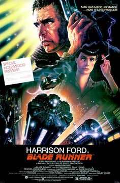 This is the classic film poster from the movie Blade Runner. Blade Runner is a 1982 American dystopian science fiction thriller film directed by Ridley Scott and starring Harrison Ford, Rutger Hauer, Sea. Tv Movie, Sci Fi Movies, Iconic Movies, Great Movies, Famous Movies, Cyberpunk Movies, Movie Plot, Awesome Movies, Movies 2019
