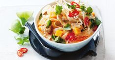 For a hearty winter warmer try this 15-minute chicken and pumpkin laksa.