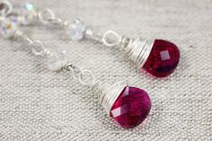 Wire Wrapped Ruby Swarovski Briolette Earrings.