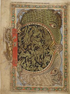 View 'Illustration of the damned swallowed by a hellmouth, from the Winchester Psalter' on the British Library's The Middle Ages website