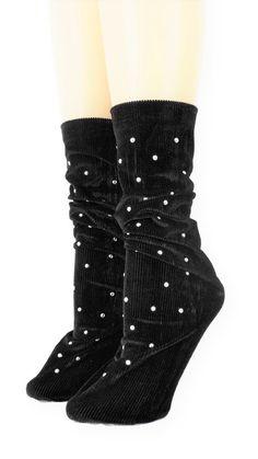 Ribbed Coal Velvet Socks with Beads Velvet Socks, Crew Socks, Comfy, Beads, Unique, Spandex, Modern, Products, Fashion