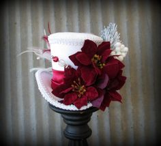 Christmas Mini Top Hat, Alice in Wonderland, Mad Hatter Hat, Steampunk Christmas, Tea Party Hat, New Year's Mini Top Hat, Black and Silver